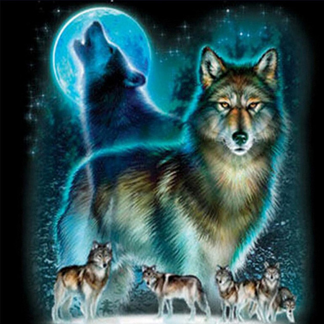 Animal Wolves picture printed on canvas 3D DIY full round diamond drill mosaic embroidery painting cross stitch image