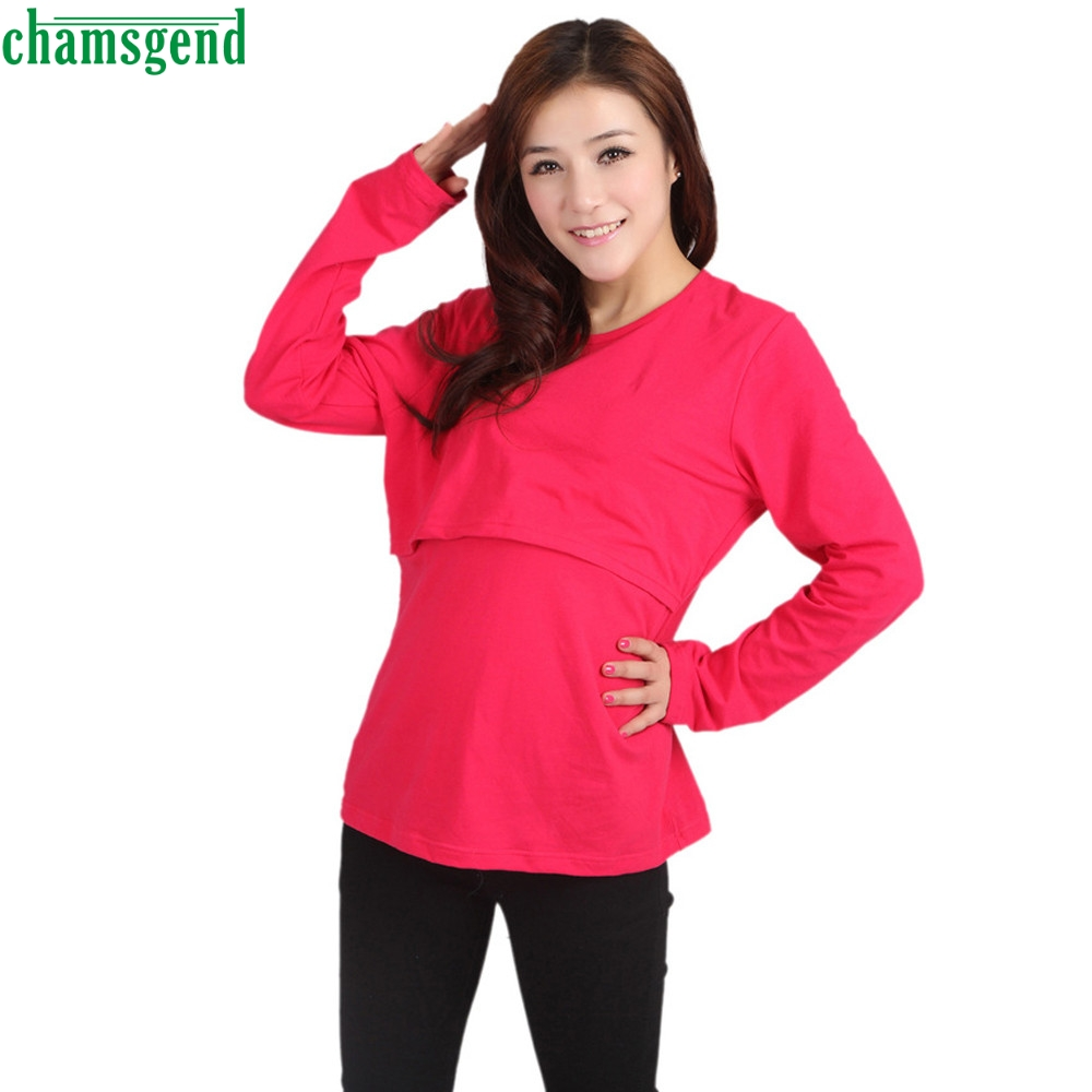 CHAMSGEND Drop ship Comfortable Cotton Blend Pregnant Maternity Clothes Nursing Tops Breastfeeding Long Sleeve T-Shirt Feb7 S45