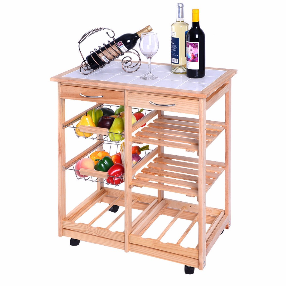 New Rolling Wood Kitchen Trolley Cart Dining Storage Drawers Stand Durable HW49745NA juki mechanical feeder cart storage trolley cart