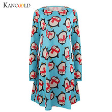New Christmas Woman Dress penguin printing Autumn Long sleeve dresses O-Neck mujer clothing Above Knee Dress girs vestidos OC31B(China)