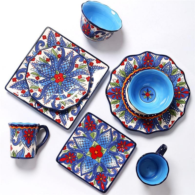 European Creative Ceramic Dinnerware Sets Hand-painted Tableware Western Steak Round and Square Plate Mug Fruit Salad Rice Bowl