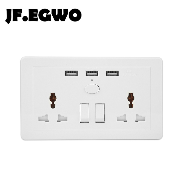 JF.EGWO USB Wall socket with 3 USB ports 2 AC Wall Outlet Universal ...