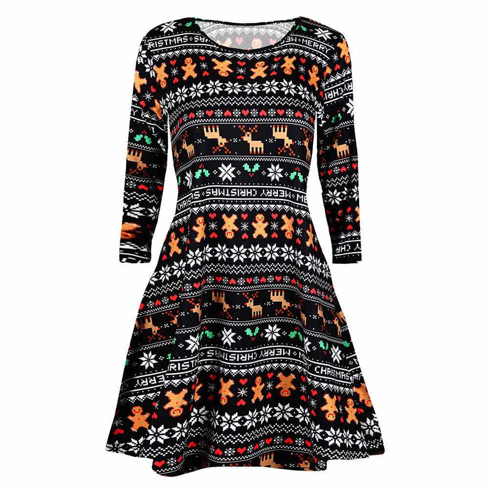 747d752c826 Female Casual Retro Long Sleeve dress Women s Vintage Christmas Printed  elegant dress 2018 plus size clothing