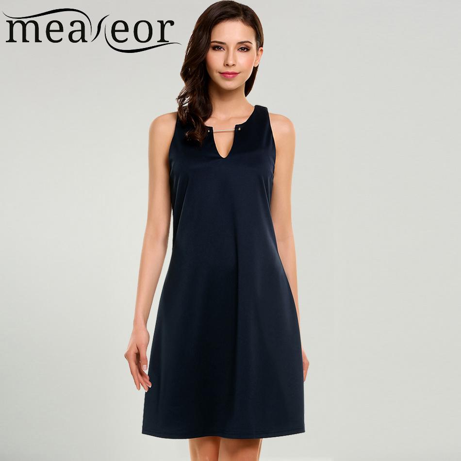 Meaneor Women Dress Summer Autumn Simple Casual V-Neck Sleeveless Solid A-Line Pleated Hem Elatic Tank Dresses Feminino Vestidos