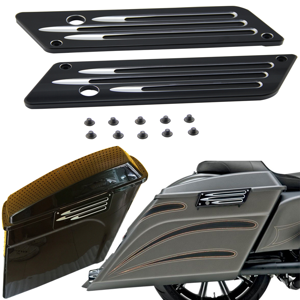 2015 Hot sale Arlen Ness Black Contrast Deep Cut Saddlebag Latches Cover fits for Harley 93-13 maxillary expansion