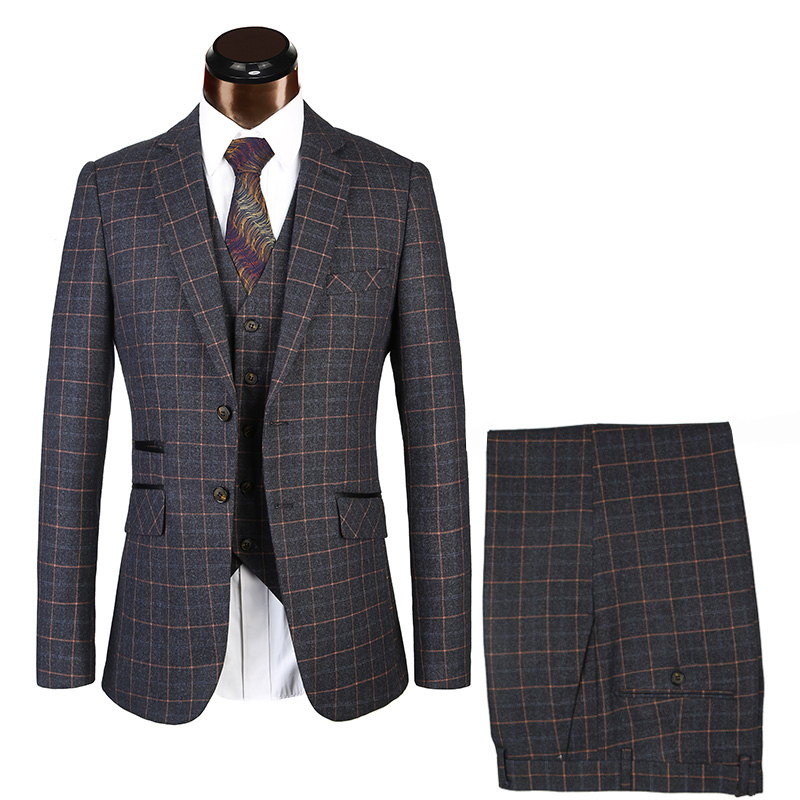 Black Plaid Suits Herringbone Retro Gentleman Style Men's