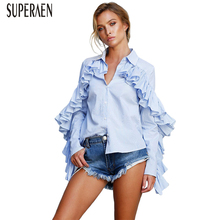 SuperAen Europe Fashion Women's Shirts Cotton Wild Long Sleeve Women Clothing Striped Ladies Blouses and Tops New 2018 Autumn
