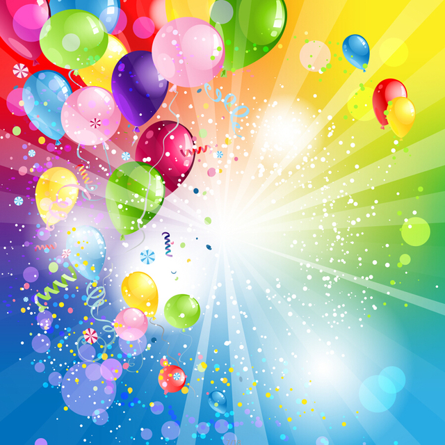 Happy Children Birthday Party Balloons 8X8ft Thin Vinyl Photography Background