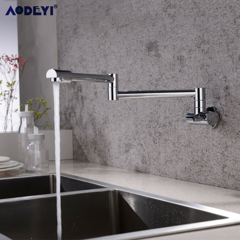 Brass Wall Mounted Kitchen Faucet Pot Filler Faucet Swivel Folding Retractable Rotary Stretch  Basin Faucet Sink Tap