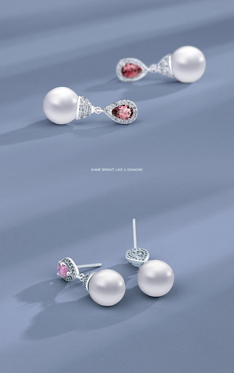 HTB19icYKkKWBuNjy1zjq6AOypXaX Warme Farben 925 Sliver Women Earrings Made With Swarovski Crystal Elegant Pearl Drop Earrings Fashion Jewelry Wedding Earrings