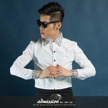 HOT 2015 Original design men's clothing fashion casual shirt  long-sleeve Rivets shirt dress singer costumes nightclub shirts