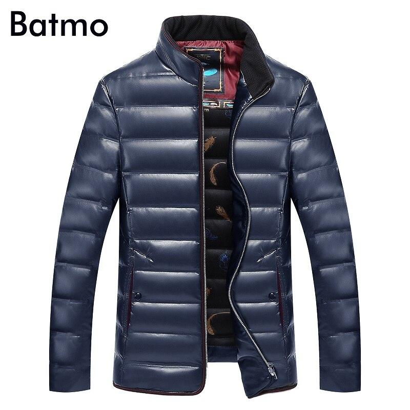 BATMO 2018 nouveau hiver hommes mode col montant garder au chaud doudoune, 70% blanc canard vers le bas manteaux parkas hommes, pleine taille L-8XL