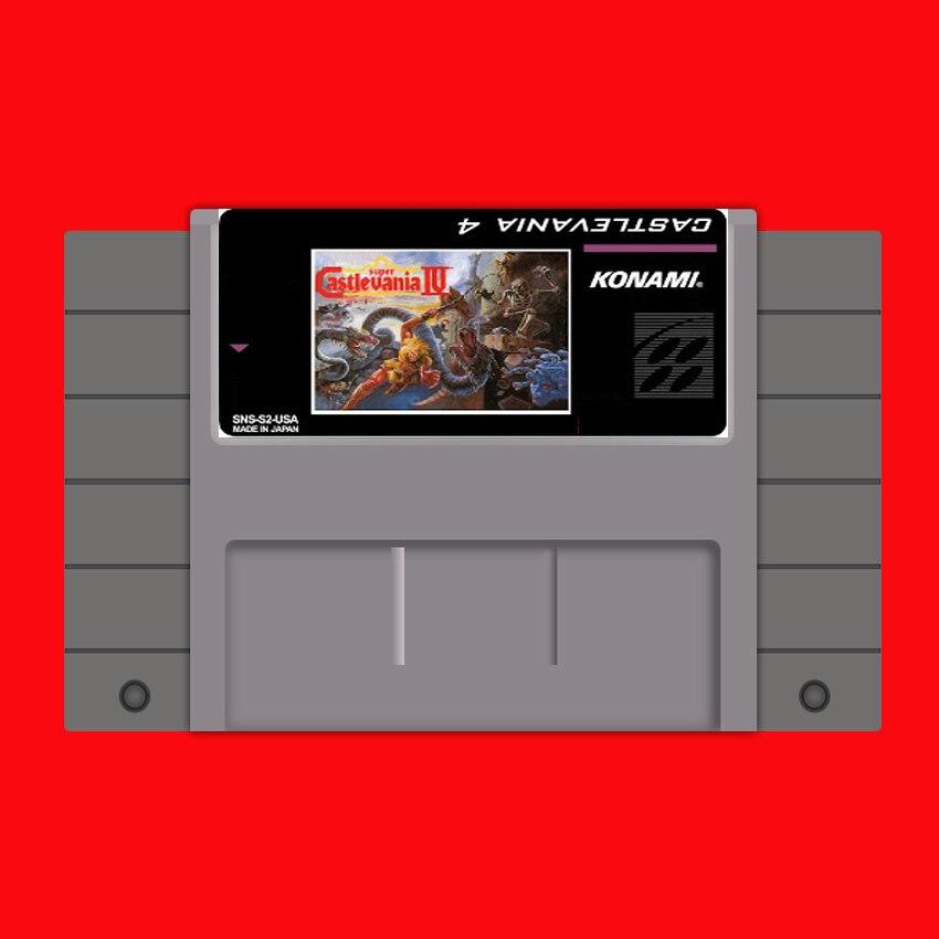 Super Castlevania IV 16 bits tarjeta de juego gris grande para jugador de juegos de Estados Unidos NTSC