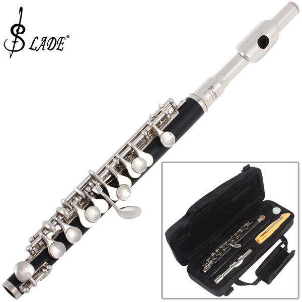 SLADE Piccolo Ottavino Half-size Flute Plated C Key Concert Flute Cupronickel with Cleaning Cloth Screwdriver Padded Box
