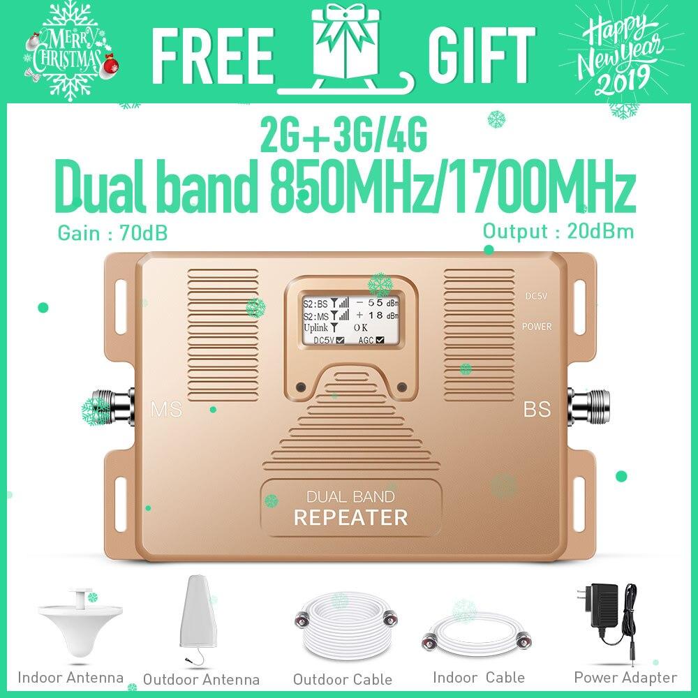 Inteligente banda DUAL 2G/3G + 4G amplificador de señal teléfono celular/850/AWS1700/2100 MHz móvil repetidor de señal de celular amplificador de señal kit