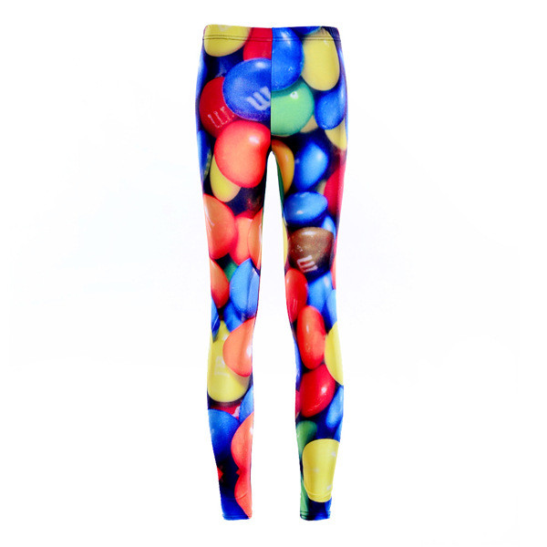 Fashion Women Colorful Candies Print Leggings Slim Fit Thin Elastic Polyester Cos Party Pants Casual Trousers Drop Shipping
