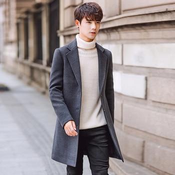 2019年新款长款毛呢风衣外套男士防风防寒冬季时尚男士大衣优质保暖风衣外套男外套尺寸M-5XL roupas da moda masculina 2019