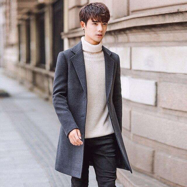 c3ed64b5503e6 2019 New Long Woolen Trench Coat Men Windbreak Winter Fashion Mens Overcoat  Quality Warm Trench Coat Male Jackets size M-5XL