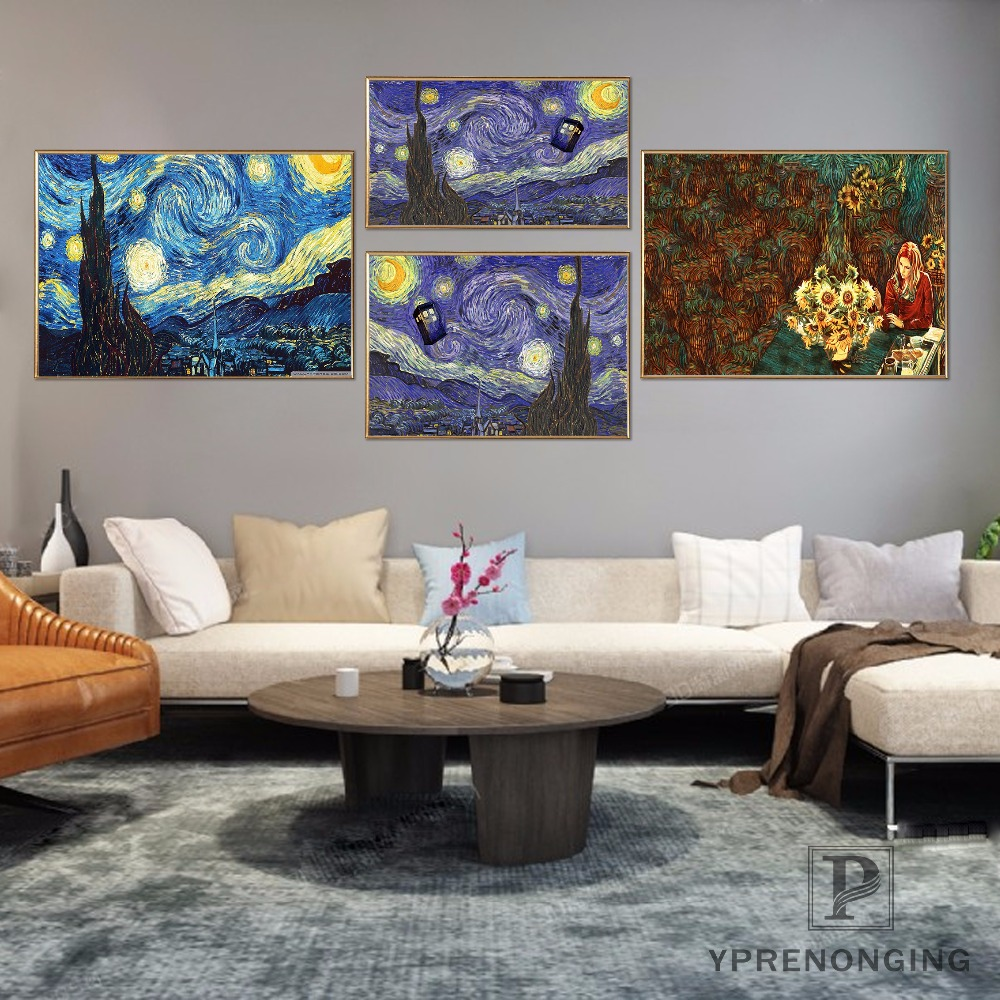 Canvas Fabric Cloth Poster Custom Doctor Who Van Gogh Print Silk Fabric Home Decor Poster For Your Living Room#20180327-12