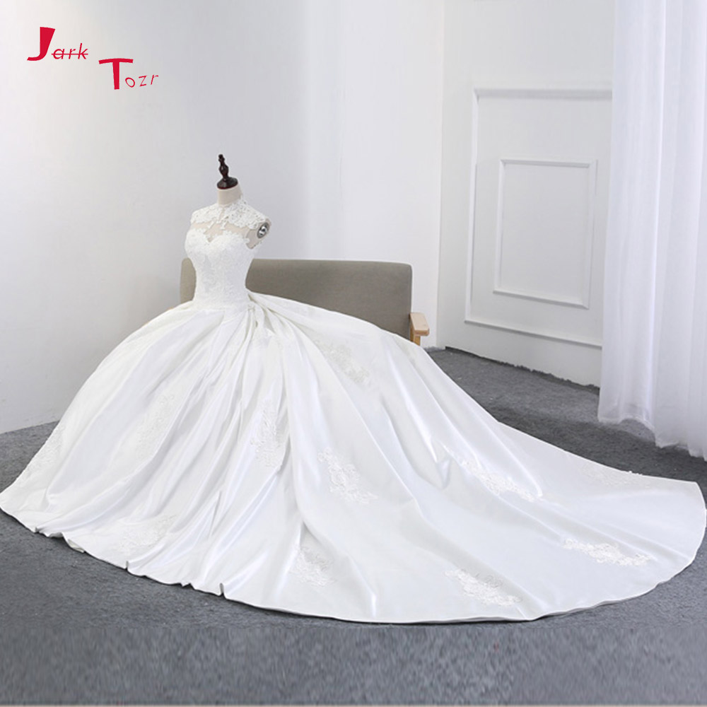 Jark Tozr Custom Made High Neck Open Back Lace Up Appliques France Satin Ball Gown Wedding