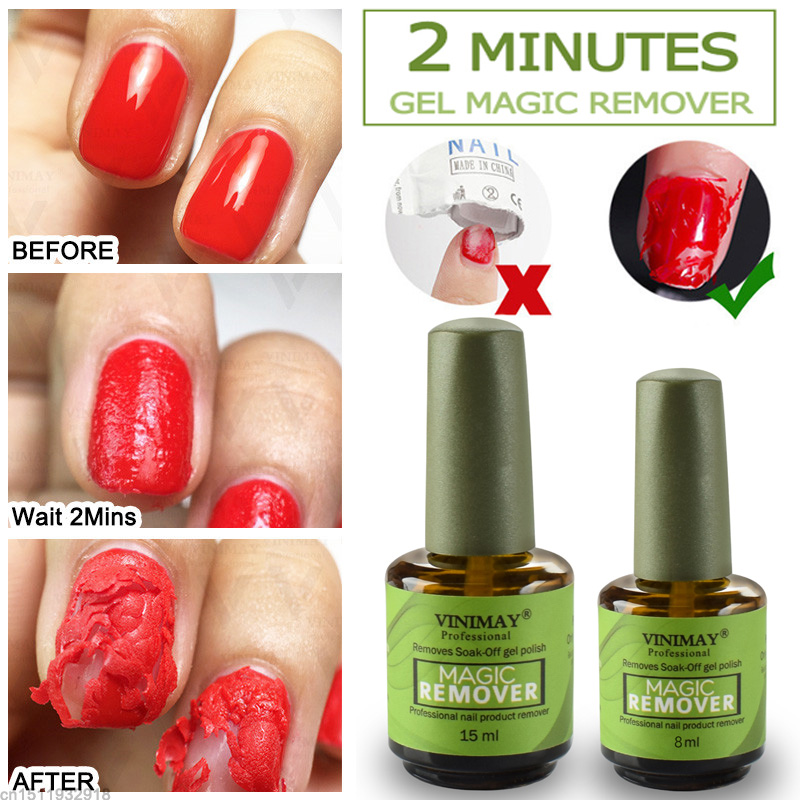 VINIMAY 2 Minutes Burst Nail Polish Gel Magic Remover Nail Polish Remover Soak Off Nail Polish Degreaser Nail Art Primer Lacquer