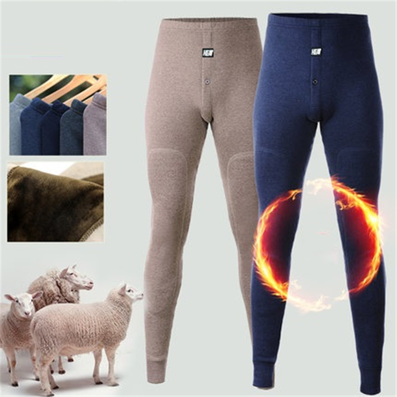 Mens Long Underwear Merino Wool Knee Thicken Thermal Pants Men Winter Clothing Fleece Male Legging Long Underpants Super Warm(China)