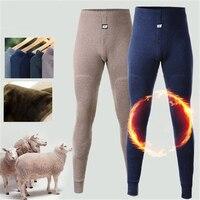 Mens Long Underwear Merino Wool Knee Thicken Thermal Pants Men Winter Clothing Fleece Male Legging Long Underpants Super Warm