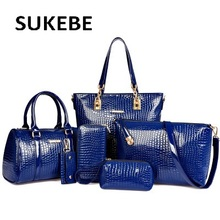 2017 NEW 6pcs set Fashion Crocodile Handbag PU Leather Bag Women Handbags Crossbody Bag Handbag Messenger