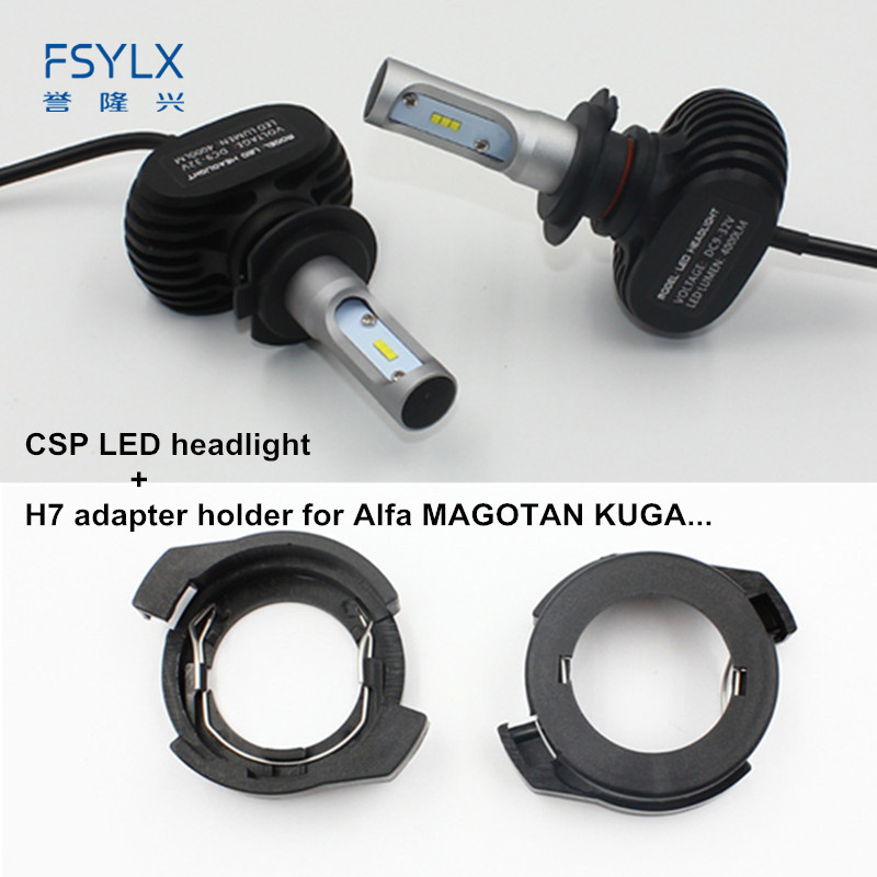 FSYLX H7 LED headlight bulb with LED H7 adapter holder for Renault Megane for Alfa Romeo auto Car H7 LED Headlight headlamps auto car usb sd aux adapter audio interface mp3 converter for alfa romeo alfa giulietta non navi 2010 fits select oem radios