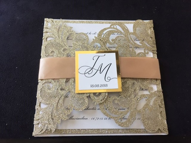glitter gold laser cut wedding invitations with belly band and tag