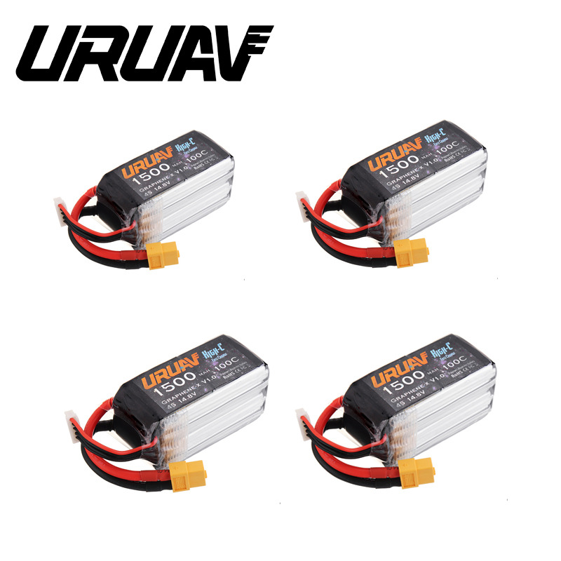 1/2/4 PCS URUAV Graphene-X V1.0 <font><b>4S</b></font> 14.8V <font><b>1500mAh</b></font> <font><b>100C</b></font> Fast Charge XT60 <font><b>Lipo</b></font> Battery for FPV Racing Drone RC Quadcopter Model image