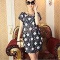Корейский стиль Плюс размер мини платья женщин мода sexy случайные короткие рукава o шеи печатный рисунок 17 цветов свободные дамы платье B42