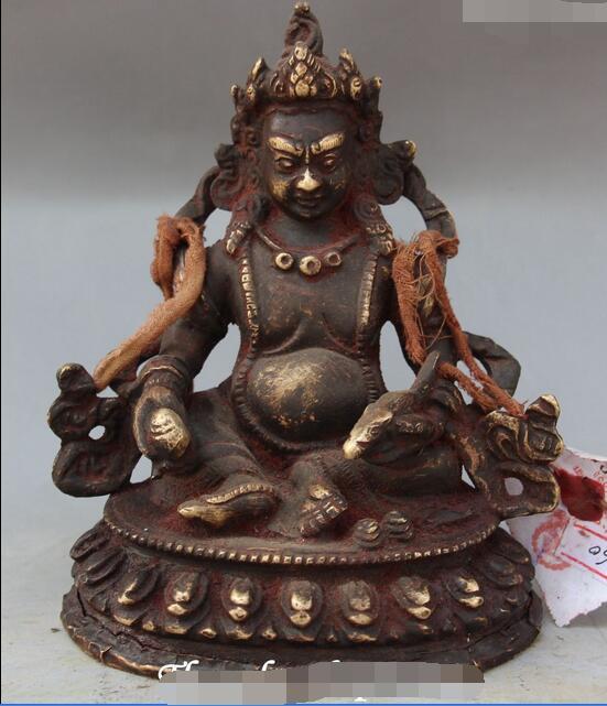 Vecchio Cinese Buddismo Rame Rosso Bronzo Yellow Jambhala Ricchezza Dio Statua di BuddhaVecchio Cinese Buddismo Rame Rosso Bronzo Yellow Jambhala Ricchezza Dio Statua di Buddha