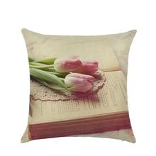 Morden Simple flowers plants Cotton Linen home decorative cushion cover  Geometric Beige Printed pillow case Square pillowcase