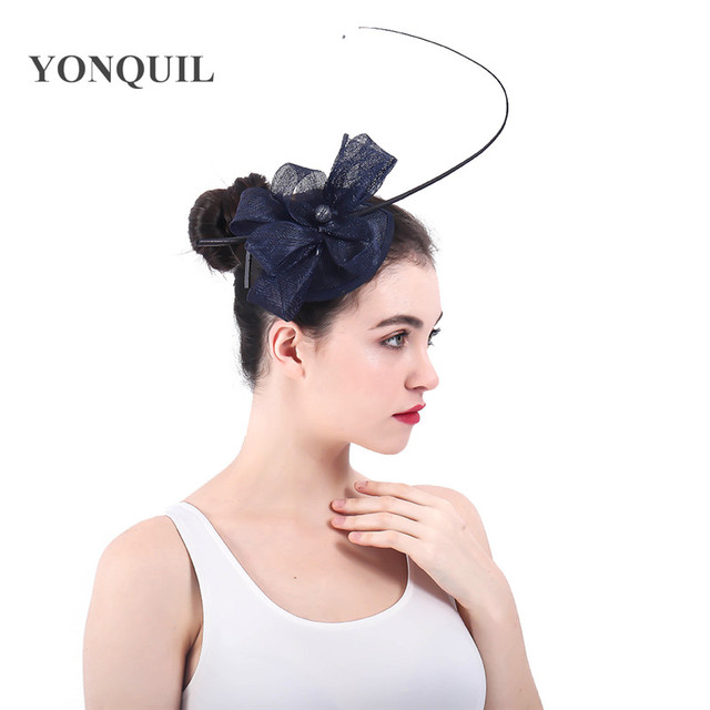 Navy Wedding sinamay Bridal Hat Flower Headwear Evening Party Quill Womens  Hats loops Fascinators With Hairpin Wholesale SYF330 4c5667c14d9