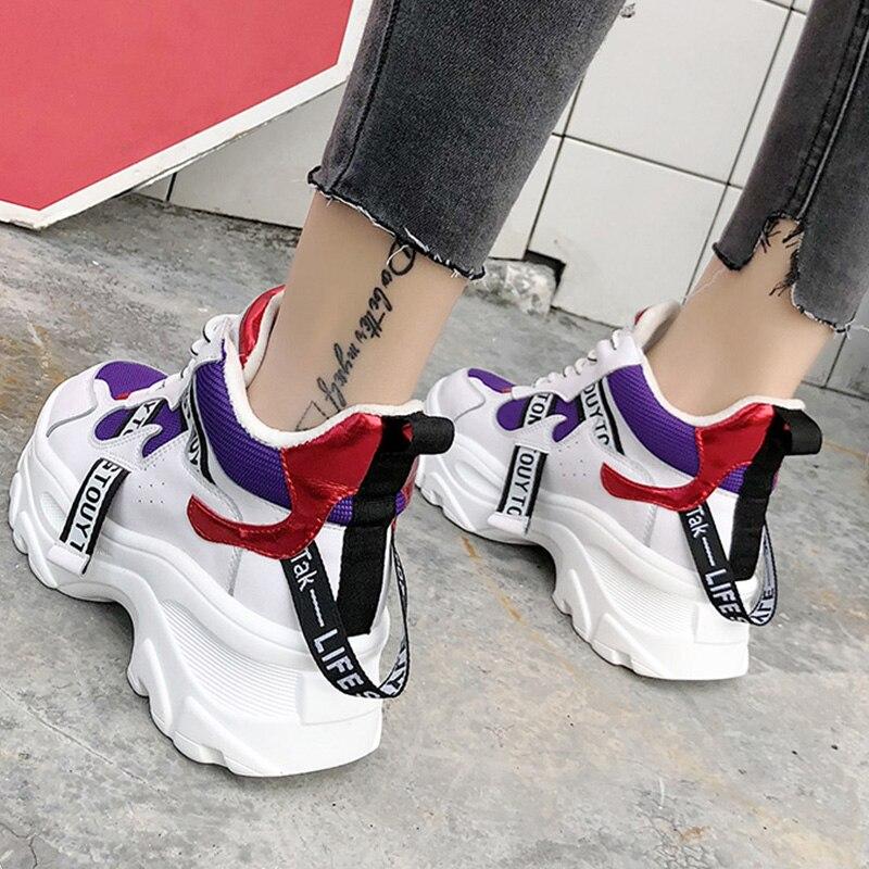 Y Mujeres Deporte Casuales Mujer Papá Zapatos Las Invierno Negro Blanco Moda Plataforma white En Zapatillas Black De gFqUwRxxp