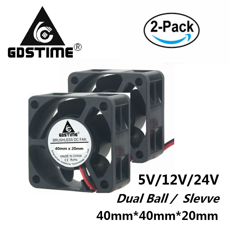Gdstime 2 Pcs DC <font><b>5V</b></font> 12V 24V 40mm x <font><b>20mm</b></font> Small Brushless Cooling Cooler <font><b>Fan</b></font> 40x40x20mm 4cm 4020 40mmx40mm image
