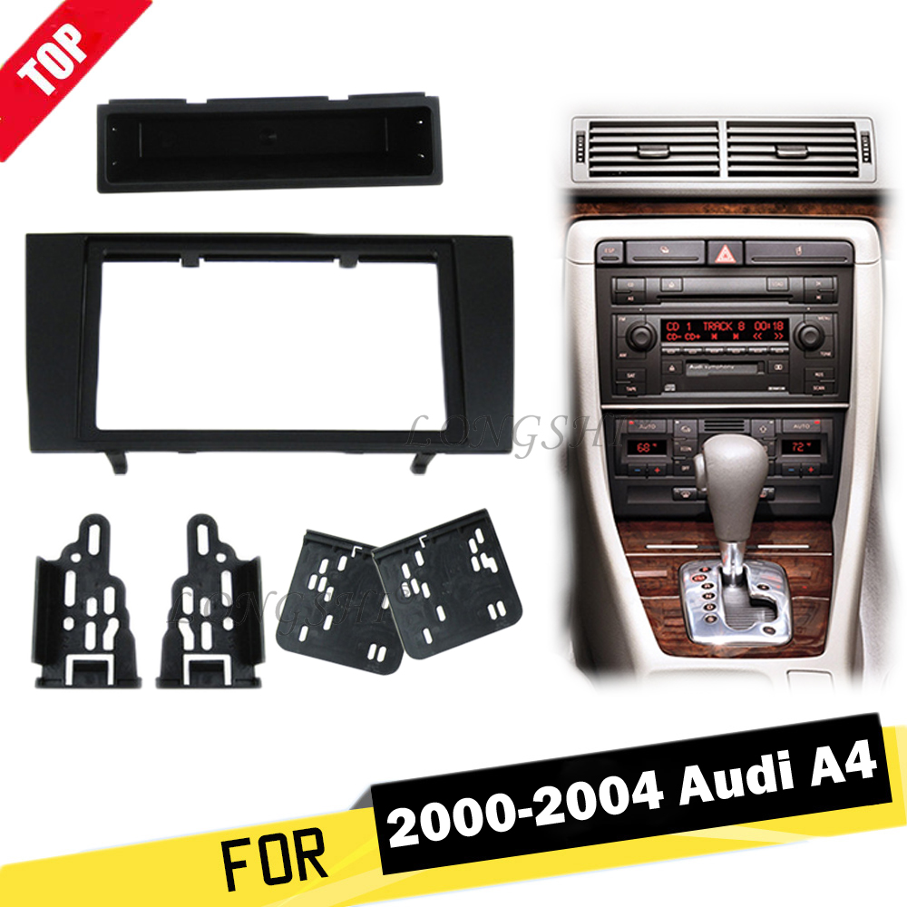 LONGSHI 173 98MM Double Din Car Radio Fascia for Audi A4 2000 2004 2DIN Dash Mount