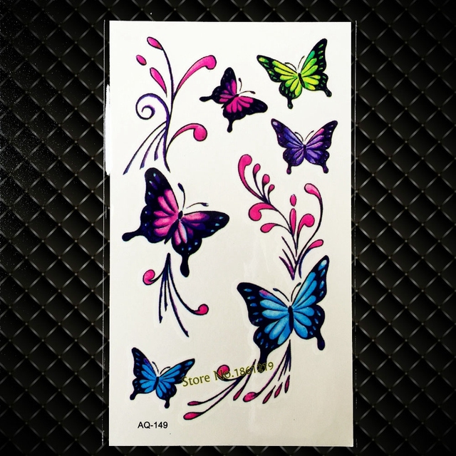 b6c68ac50 Colorful Flying Butterfly Temporary Tattoo Sticker Kids Children Body Arm  Art Shoulder Decals Waterproof Tattoo Stickers GAQ-149