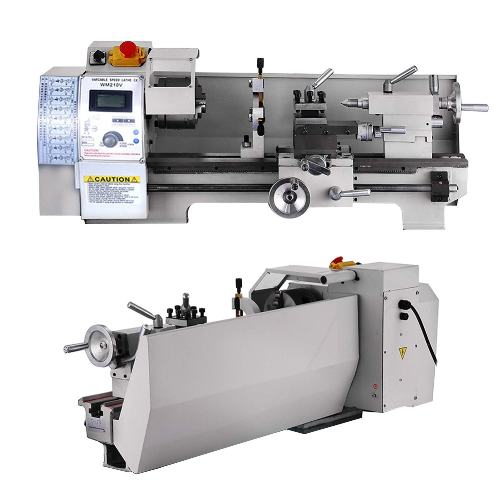 Mini Metal Lathe Machine Tools Bench Top Digital RPM Variable-Speed DIY Polishing Cutting Drill Rotary Parts Turning Repair machine tool