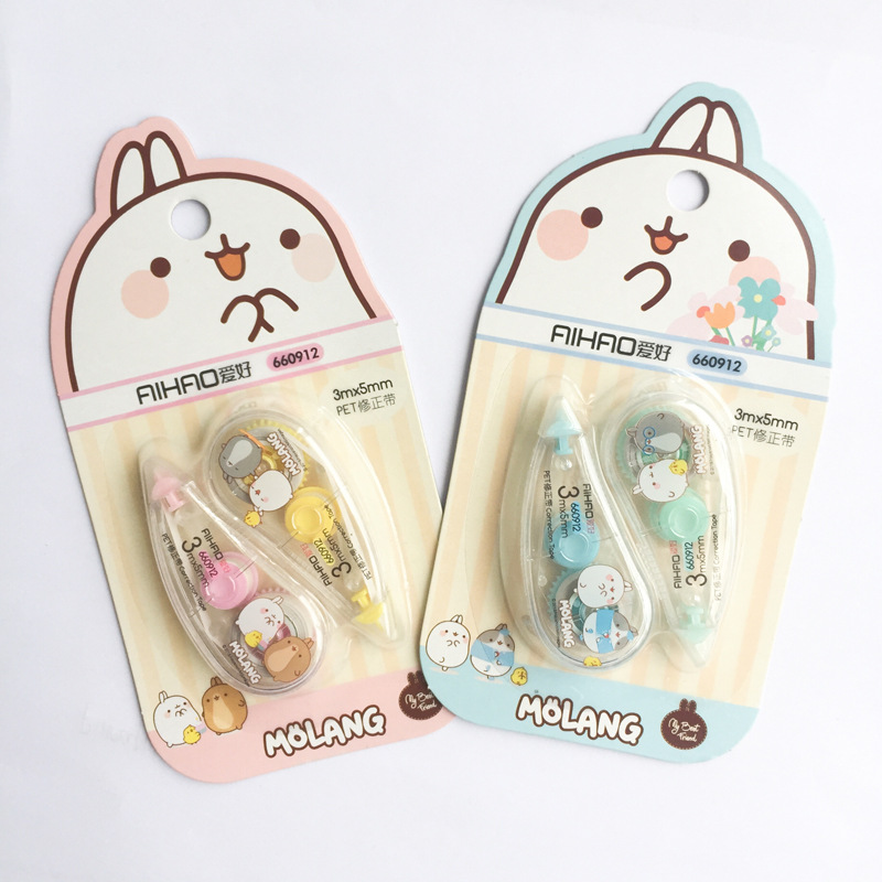 2 Pcs/pack Happiness Molang Push White Out Corrector Correction Tape Diary Stationery School Supply