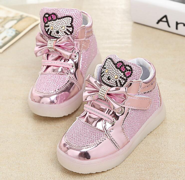 aaebc795aac0 Девушки обувь детская Мода Крюк Петля светодиодные обувь дети свет  светящиеся кр