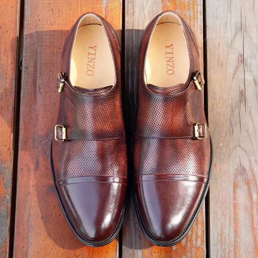 Dressing yellow Oxford Formelle Cuir Blue Hommes Boucle Hombre Bureau Zapatos Mariage De En brown Mâle Chaussures Pour Brogues wTfCxxYgq