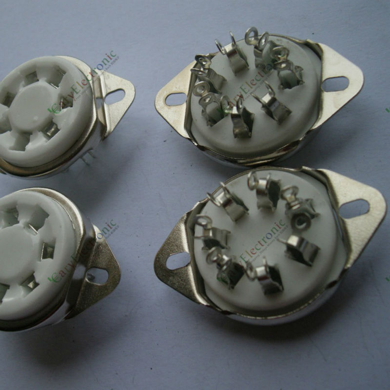 Wholesale and retail 6pc New 7pin silver Ceramic vacuum tube socket top mount valve For 2A7 6A7 amp