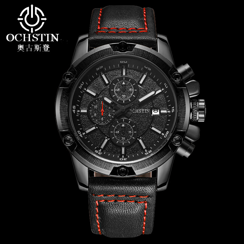 OCHSTIN Fashion Sports Chronograph Watch Men Casual Waterproof Leather Watch Male Wristwatches Military Relogio Masculino braun chronograph sports watch