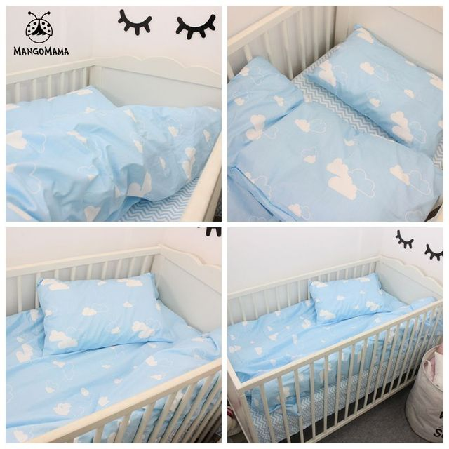 3pcs a set baby bedding set blue clouds design 100% cotton kids bedding set customized for newborn girls and boys crib