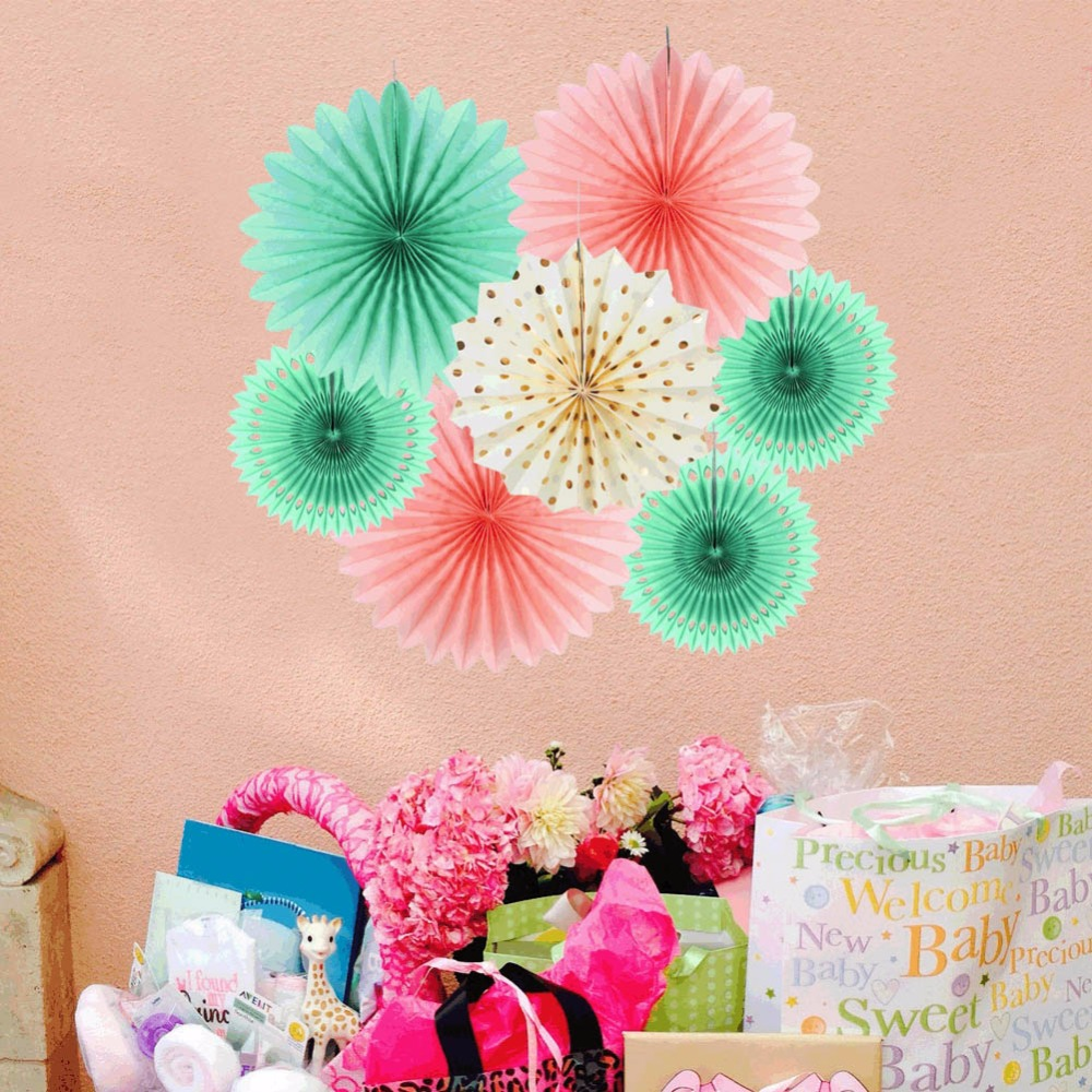 Mint Pink Wedding Birthday Party Decorations Kids Event Party Supplies Baby Shower 35cm 30cm 25cm Tissue Paper Fans 7pcs