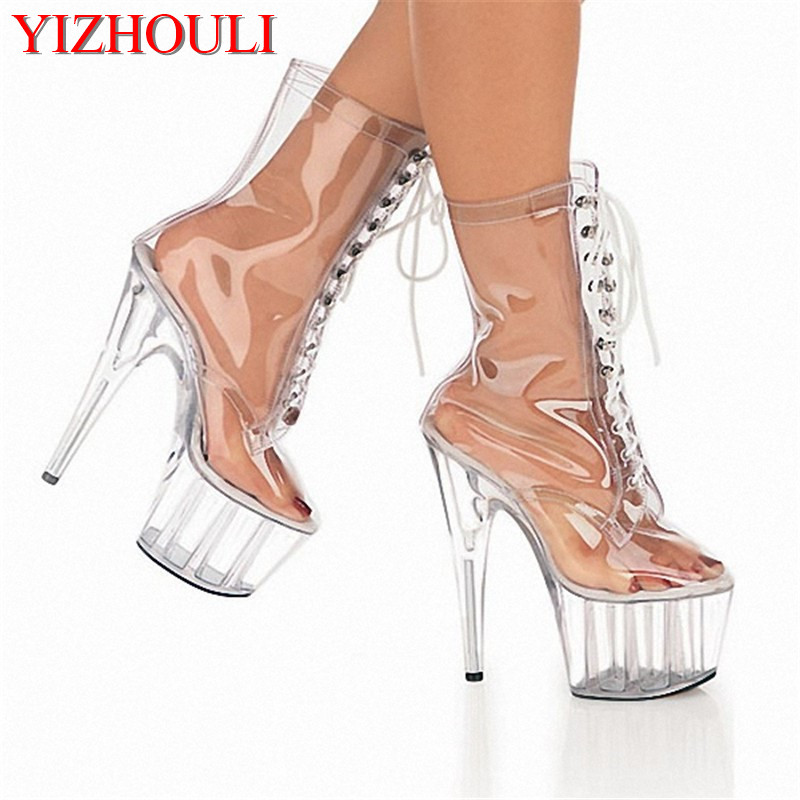 15cm Star performance shoes, ultra high - crystal clear crystal boots, European and American low Dance Shoes 15cm club shoes big star with steel tube dancing shoes 34 and 46 yards high with the lacquer that bake single crystal shoes