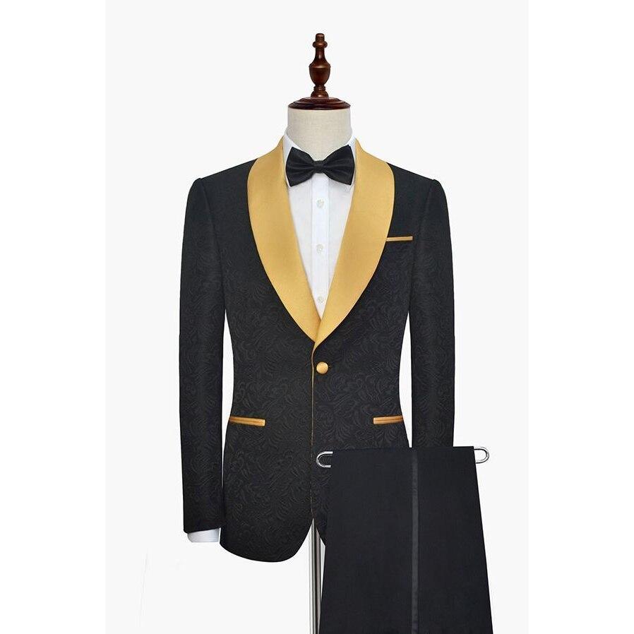 HB027 Latest Coat Pant Designs Black Pattern Shawl Lapel Men Suit Formal Embossed Skinny Prom Costume Male Blazer Terno Tuxedo