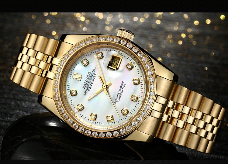 38MM SANGDO men's watch  Automatic Self-Wind movement  High quality Luxury Mechanical watches 327DDD original binger mans automatic mechanical wrist watch date display watch self wind steel with gold wheel watches new luxury